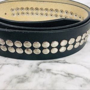 Guess Accessories - Guess Rhinestone Enlob Black Studded Belt/Large
